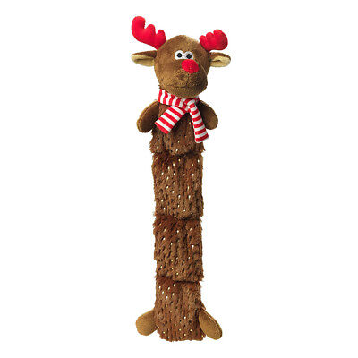 House of Paws Sparkle Christmas Reindeer Squeaky Dog Toy | Multi-Squeak Soft