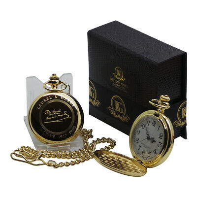 Signed LAUREL & HARDY 24k Gold Clad Pocket Watch and Chain Set Luxury Gift Case