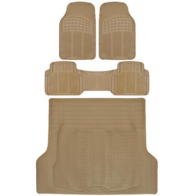SUV Car Floor Mat 4 pc Rubber All Weather HD Front Rear  Trunk Cargo Beige Mats