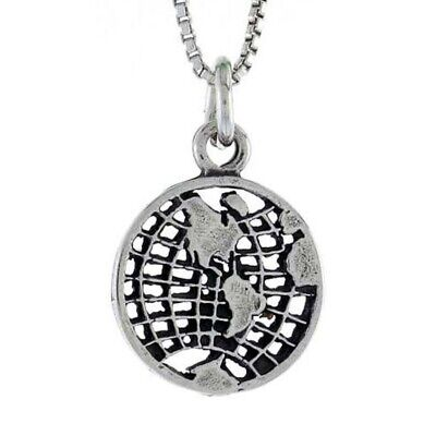 Sterling Silver Small Earth Pendant / Charm, 18