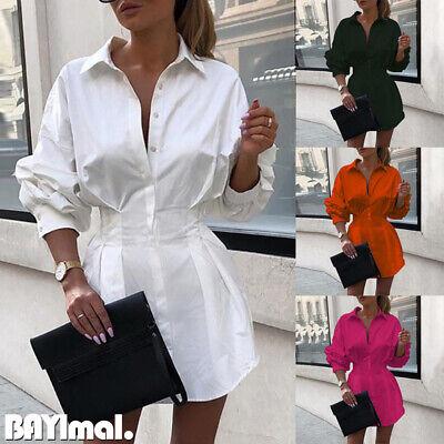 Womens Slim Long Sleeve Mini Dress OL Ladies Casual Work Plain Shirt Blouse Tops
