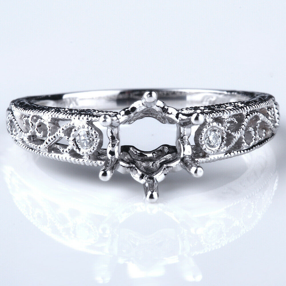 Fine Jewelry Sterling Silver 925 Plate White Gold 5.5mm Round Mount Filigree Wedding Ring Wide Selection; Fine Rings