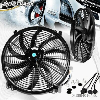 "Universal 16"" Inch 12V Slim Fan Push Pull Electric Radiator Cooling Mount Kit"