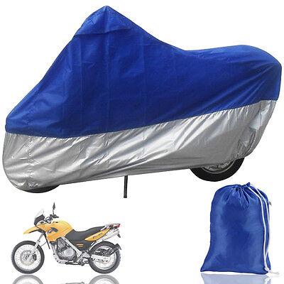 XXL Motorcycle Waterproof Outdoor Motorbike Rain Vented Bike Cover Silver Blue