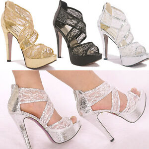 Royal-Glitter-Lace-Princess-Gorgeous-Wedding-Bridesmaids-Shoes-Sandal-High-Heels