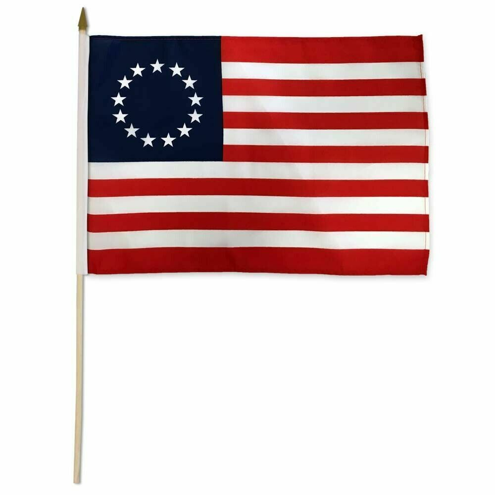 Betsy Ross Stick Flag 12x18in - 1776 - 13 Stars - Colonial A