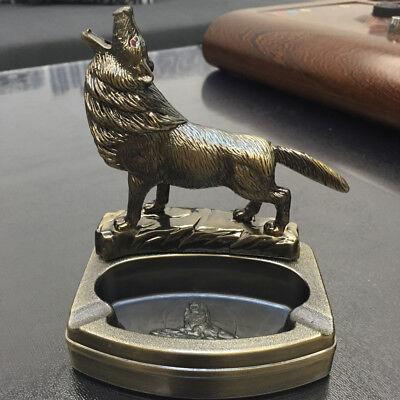 Novelty Wolf  Refillable Butane table lighter Cigarette cigar Ashtray Ash Tray Novelty Cigarette Lighter