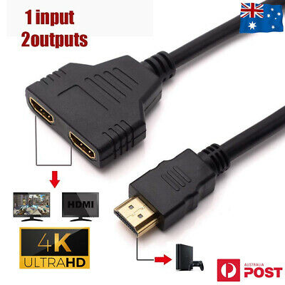 1080P HDMI Splitter 1 In 2 Out Cable Adapter Converter Multi Display Duplicator