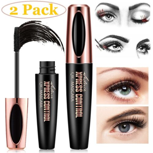 2Pack Black 4D Silk Fiber Eyelash Mascara Extension Makeup Waterproof Eye Lashes Eyes