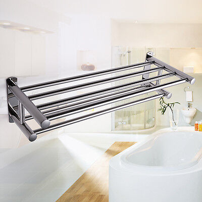 شماعة حمام جديد Double Stainless Wall Mounted Bathroom Towel Rail Holder Storage Rack Shelf Bar