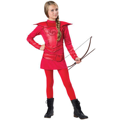 Girls Huntress Costume (Girls Tween Red Warrior Huntress)