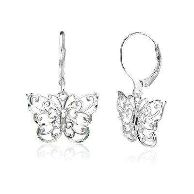- Sterling Silver Diamond-cut Filigree Butterfly Dangle Leverback Earrings