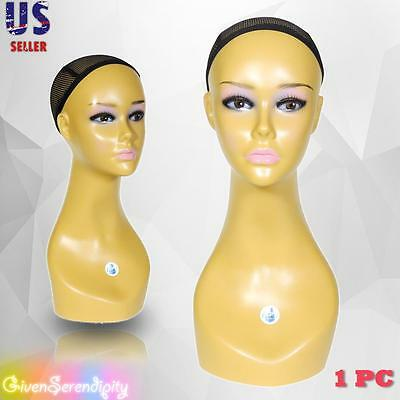 Realistic Plastic Female Mannequin Head Lifesize Display Wig Hat 18 B3