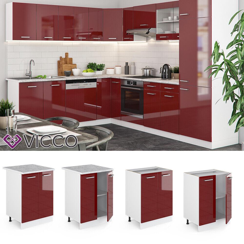 VICCO Küchenschrank Hängeschrank Unterschrank Küchenzeile R-Line Unterschrank 60 cm bordeaux