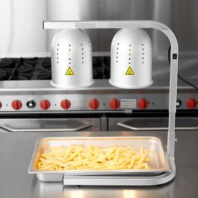 Avantco Aluminum Heat Lamp Food Warmer 2 Bulb Free Standing Stand Commercial