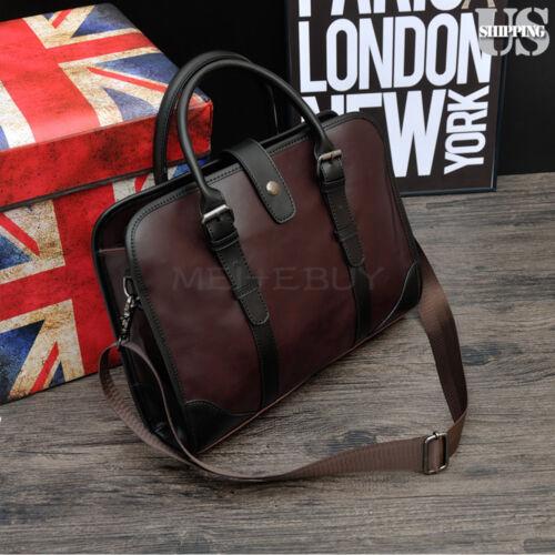 Men's Leather PU Business Handbag Satchel Shoulder Messenger