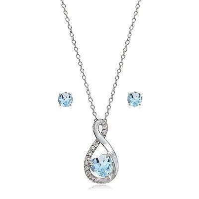 Sterling Silver Blue Toapz & White Topaz Infinity Heart Necklace Earrings Set