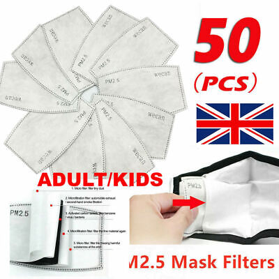 50x Face Mask PM2.5 Activated Carbon Filter Replace Breath Insert Mask Filter