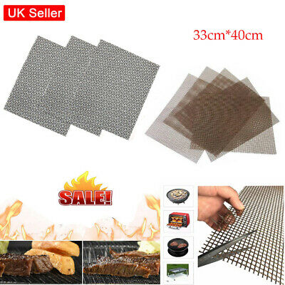 5X Reusable BBQ Grill Mesh Non-Stick Cooking Pad Barbecue Teflon Sheet Resistant