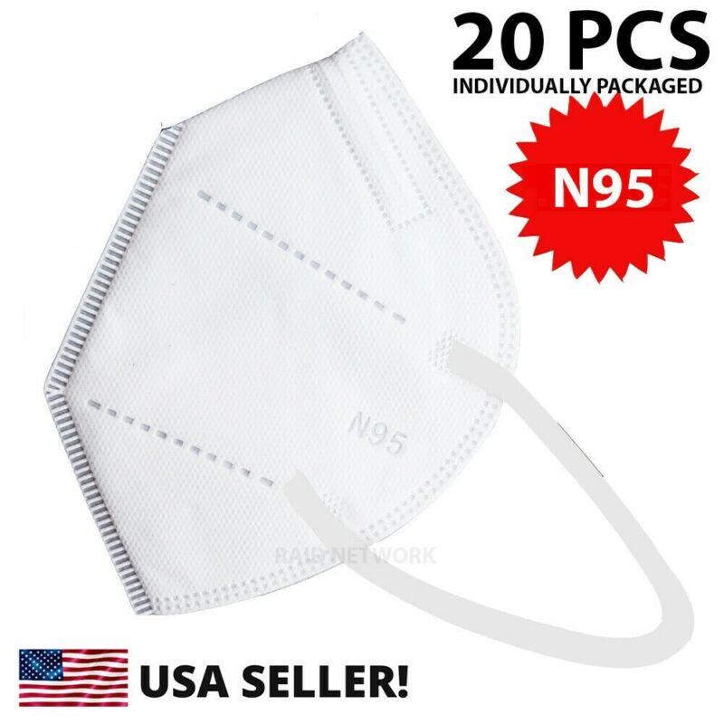 20 Pcs N95 Medical Face Mask Cover Protection Respirator Masks N 95