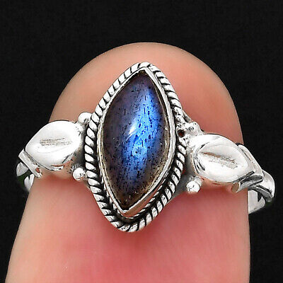Blue Labradorite - Madagascar 925 Sterling Silver Ring S.6.5 Jewelry 1782 - $8.46