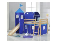 Pine Cabin Child's Bed with slide, tower, and tents