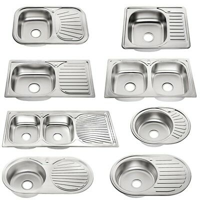 Edelstahlspüle + Ablage Rundbecken Küchenspüle Einbauspüle Spülbecken Spüle