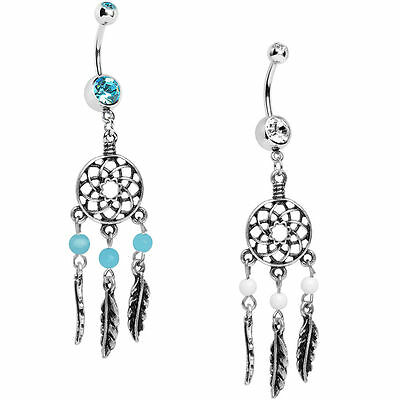 Dream Catcher Belly Ring Dangle with Feathers 14g Surgical -