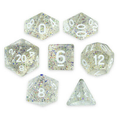 Wiz Dice Sparkle Vomit Set of 7 Polyhedral Dice in Display Case-Clear Glitter](Clear Dice)