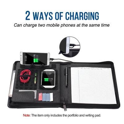 A4 Portfolio Padfolio Pu Leather Zippered File Folder 8000mah Powerbank Charger