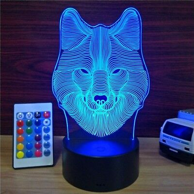 RGB Remote Control Wolves LED Desk Lamp Lantern Night light Kid Cartoon Gift - Kid Lantern