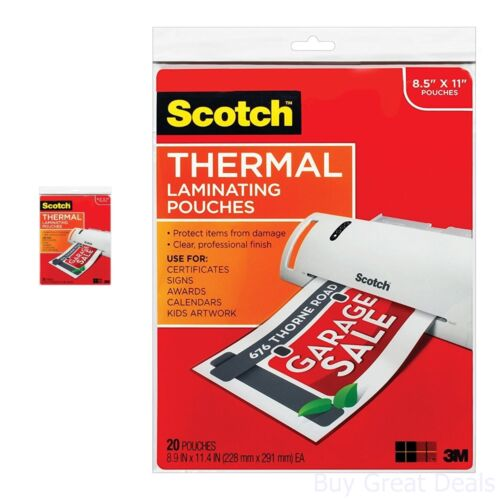 Scotch Thermal Laminator Laminating Pouches Photo Safe Fit Document 8.5x11 3 Mil