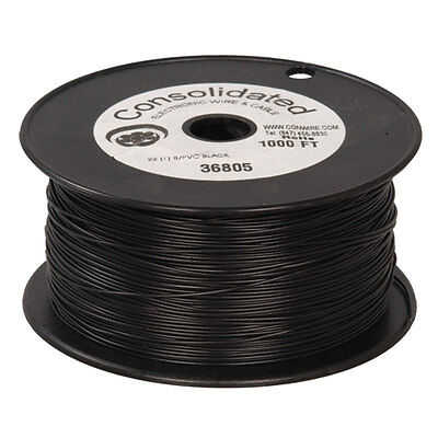 22 Awg Black Solid Tinned-copper Hook-up Wire 1000 Feet