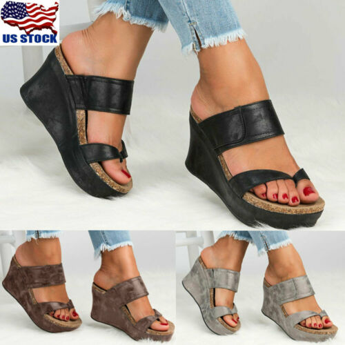 US Womens Sandals Wedge Shoes Platform Heels Thong Flip Flop