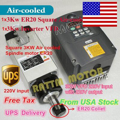 Usa Stock Square 3kw Air Cooled Spindle Motor Er20 Inverter Vfd 220v Cnc Kit