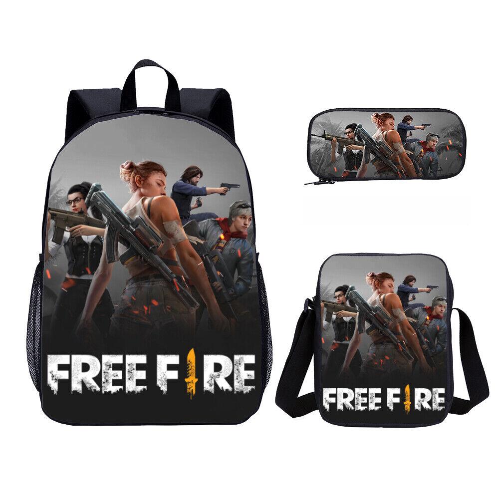 S 3 Free Fire Game Kids Big Bookbag School Backpack Shoulder Bag Pencil Case Lot Ebay