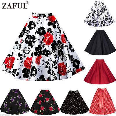 Plus size Ladies Retro Vintage 50s Style Skirt Pinup Swing Pleated Midi Dresses