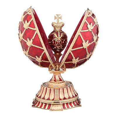 Decorative Faberge Egg Russian Coat of Arms Emperor Crown & Clock 5.9'' 15cm red for sale  Shipping to United States