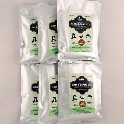 PACK OF 6 Light Brown Henna Hair & Beard Dye | 100% Natural | Henna Color Lab