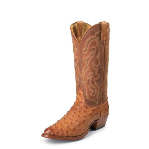 Nocona, Mens, Cognac, Full, Quill, Ostrich, Western, Cowboy, Boot, Semi, Round, Toe, MD8502