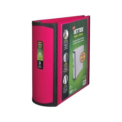 Staples Better 3-inch D 3-ring View Binder Pink 15128-us 702876