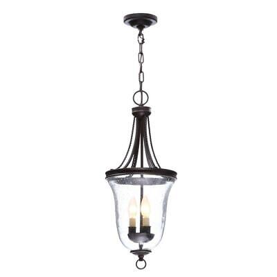Progress Lighting Seeded Glass 3-Light Antique Bronze Foyer Pendant