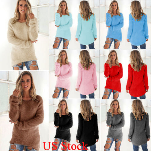 Women Ladies Casual Pullover Loose Sweater Long Sleeve Jumpe