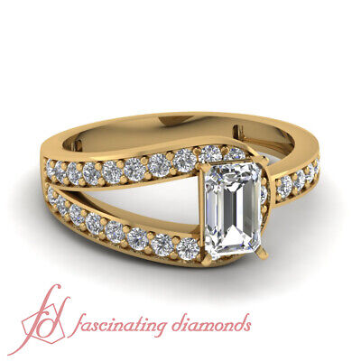 1.25 Ct Emerald Cut Bypass Diamond Wedding Rings For Women In Yellow Gold GIA