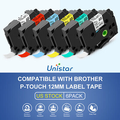 6pk Compatible Brother P Touch Tze 231 631 Tape 0.47in Cube Pt-h110 Label Maker