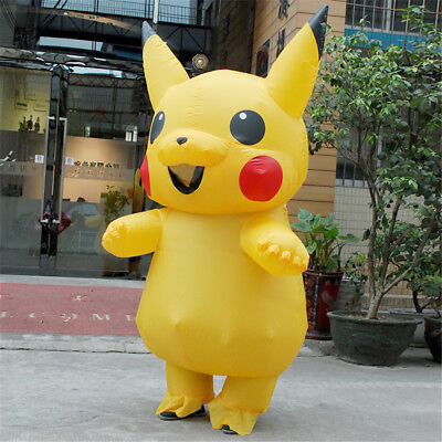 For Kids Pokemon Pikachu Inflatable Costume Halloween Cosplay Suit Xmas Gift