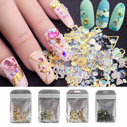 Shimmer 3d Nail Art Diy Mixed Shape Rhinestones Glitter Diamond