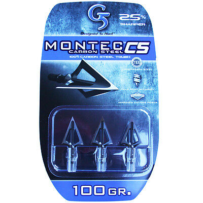 "G5 Broadhead Montec CS 3pk 100 Grain 1 1/16"" Cut Carbon Steel #00113"