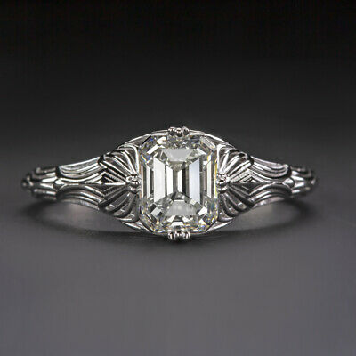 1 CARAT GIA CERTIFIED G VS1 DIAMOND ENGAGEMENT RING EMERALD CUT VINTAGE ART DECO