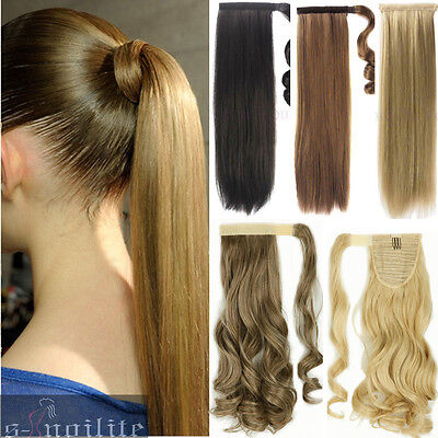 100  As Real Clip In For Human Hair Extension Pony Tail Wrap Around Ponytail Qw8